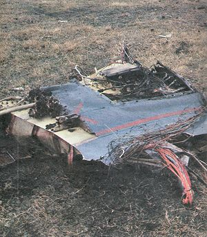 Blue Beach Military Cemetery at San Carlos - Wreckage from Lt Nick Taylor Sea Harrier