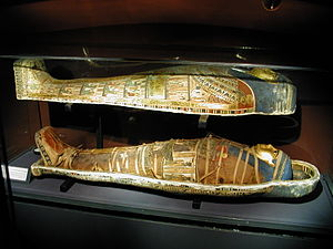 English: Sarcophagus and mummy, painted wood, ...