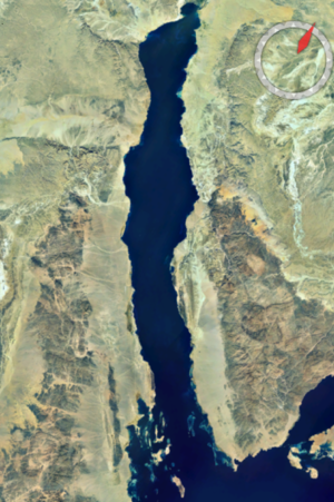 Gulf of Suez Rift - Satellite image of the Gulf of Suez, dark outcrops of the Precambrian Arabian-Nubian Shield and linear rift structures are clearly visible on both sides of the gulf