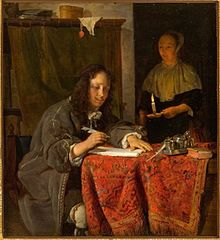 A Man with Pen in Hand and a Maid-Servant