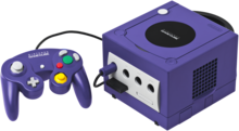 Purple GameCube with controller and memory card
