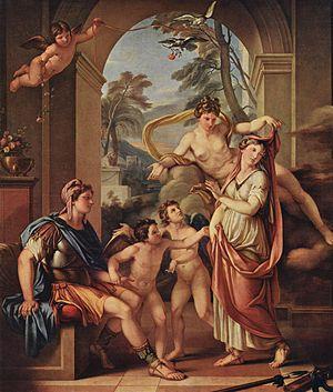 Gavin Hamilton (artist) - Venus giving Paris Helen as his wife by Hamilton (1782–1784), held by the Palazzo Braschi, Rome