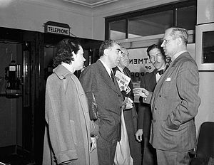 Ontario general election, 1948 - George Drew (right) in the offices of the Ontario Department of Transportation the day after his party's election victory