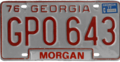 Georgia license plate, 1976–1979 series with 1977 sticker (Morgan County).png