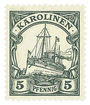 Yacht issue - A Yacht issue (small design) stamp for the German Caroline Islands.