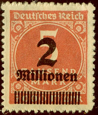 Denomination (postage stamp) - German hyperinflation surcharge 1923. A 5 thousand mark stamp overprinted to change it to 2 million marks.