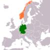 Lage von Deutschland und Norwegen