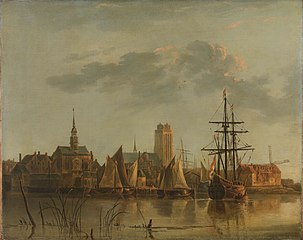 View of Dordrecht at sunset