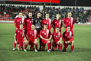 Gibraltar national football team - The Gibraltar national football team at the Victoria Stadium in March 2014