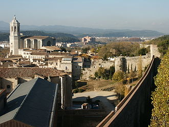 Second Siege of Gerona - Girona, showing the city wall in the right foreground