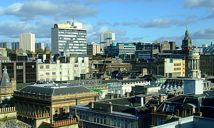 Glasgow city centre. GlasgowIn2011Rooftops.jpg