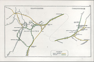 Cheltenham Spa railway station - A 1910 Railway Clearing House map of railways in the vicinity of Cheltenham Spa (shown here as Queen's Road, Lansdown)