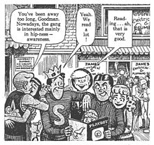 A black-and-white comic-strip panel