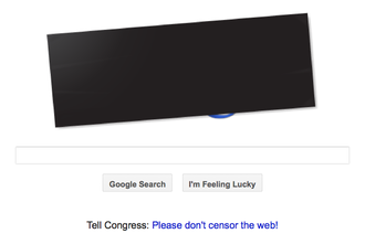 Protests against SOPA and PIPA - An example online protest by Google. Google placed a censor bar over their normal logo, which when clicked took visitors to pages with information on SOPA and PIPA.