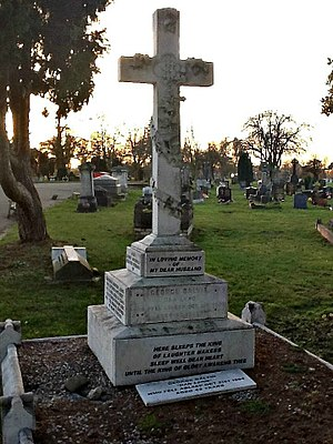 Lambeth Cemetery - Memorial for the Victorian actor Dan Leno who is buried at Lambeth Cemetery