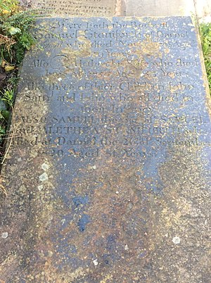 Darnall Hall - The Grave of Samuel Staniforth and his wife Alethea.