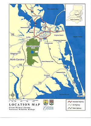Great Dismal Swamp - Map of the Great Dismal Swamp