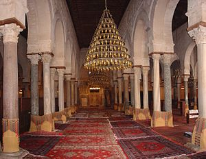 Hall - Prayer hall of the Great Mosque of Kairouan, in Kairouan, Tunisia