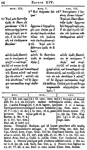 Synoptic Gospels - A page of Griesbach's Synopsis Evangeliorum, in which the texts of the synoptic gospels are arranged in columns.