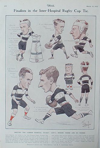 Guy's, Kings and St Thomas' Rugby Football Club - Caricature from The Sketch magazine in 1922.