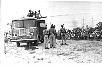 Home Guard (India) - Home Guards Demonstration-Fire tender operation.-1970