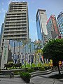 HK Central The Center 中環中心 square banners Metro Radio outdoor ads sign Sep-2014 Haleson Building Wings Building 100QRC.JPG
