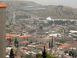 Panoramic view of Nazareth, with the Basilica of the Annunciation at the center