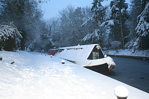 Hadar (narrowboat) - Snow and ice bound, February 2012
