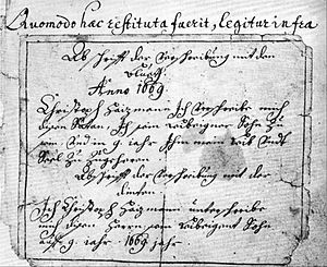 Deal with the Devil - Copy of a written deal by Christoph Haizmann from 1669.