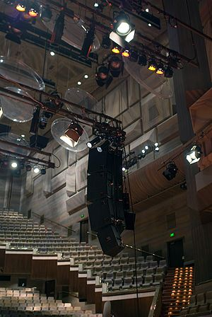 Acoustical engineering - The transparent baffles inside this auditorium were installed to optimise sound projection and reproduction, key factors in acoustical engineering.
