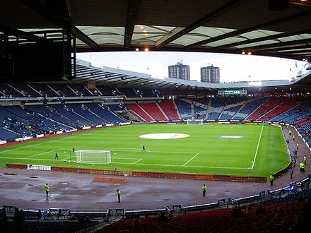 Hampden Park, the traditional home of the Scotland national football team. This picture was taken before the friendly match with the United States in 2005. Hampden Park WP EN.JPG
