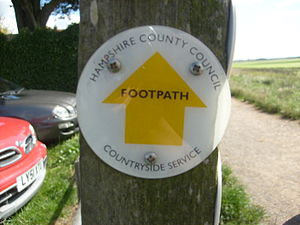 Rights of way in England and Wales - A Hampshire County Council footpath waymark.