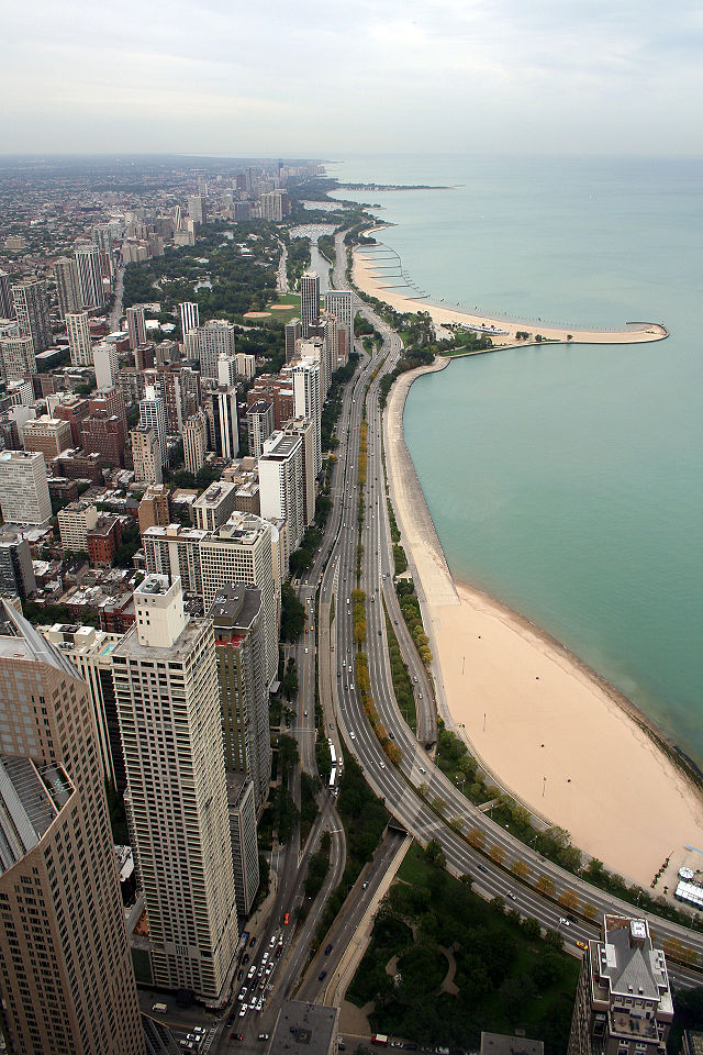 View of Lakefront from Hancock Tower by Wikipedia CC