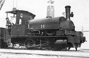 CGR 0-4-0ST 1881 - Table Bay Harbour's no. 14, then CGR no. 14, then SAR no. 014, in Port Elizabeth c. 1930