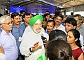 Hardeep Singh Puri interacting with the media, at the handing over ceremony of possession to allottees of the new government flats at East Kidwai Nagar, in New Delhi.JPG