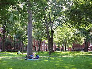 Higher education in the United States - Harvard University: Harvard Yard with freshman dorms in the background.