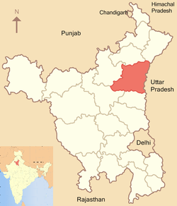 Location of Karnal district in Haryana