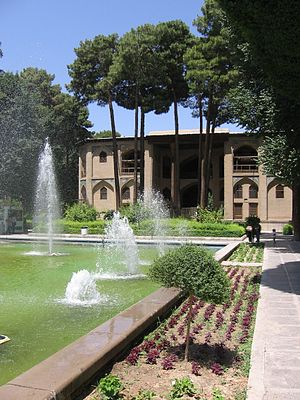 Hasht Behesht - View of the palace from the gardens.