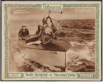 """Haunted Valley - Lobby card from episode No. 3, """"Imperiled at Sea."""""""