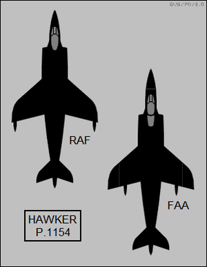 Hawker Siddeley P.1154 - Planform silhouettes of the P.1154, with the single-seat RAF version on the left and tandem, two-seat Royal Navy Fleet Air Arm version on the right