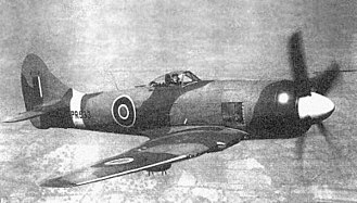 Hawker Tempest - PR533, an early production Tempest F.B II. Note the underwing bomb racks and later style pitot tube present on the outer port wing