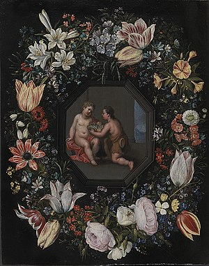 Blomsterkrans med Jesus og Johannes