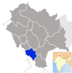 Location of Solan district in Himachal Pradesh