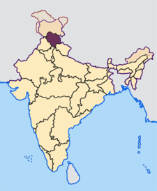 Map of India with the location of హిమాచల్ ప్రదేశ్ highlighted.