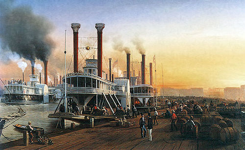 Mississippi River steamboats at New Orleans, 1853 Hippolyte Sebron - Bateaux A Vapeur Geants 1853.jpg