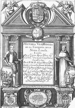 Historia verdadera de la conquista de la Nueva España - Title page of the first edition (1632)