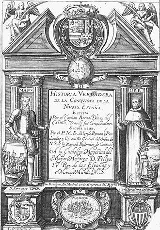 Historia verdadera de la conquista de la Nueva España - Title page of an edition of 1632