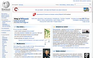Polish Wikipedia - Screenshot of the Main Page of the Polish Wikipedia on September 9, 2011.
