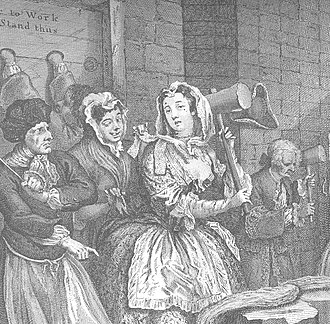 House of correction - A Harlot's Progress by William Hogarth. Moll Hackabout beats hemp in Bridewell Prison
