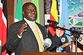 Hon. Dr. Cryspus Kiyonga, minister of Defence speaking during the AMISOM Retreat in Kampala- Uganda (16220704751).jpg